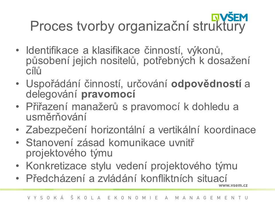 Proces tvorby organizační struktury