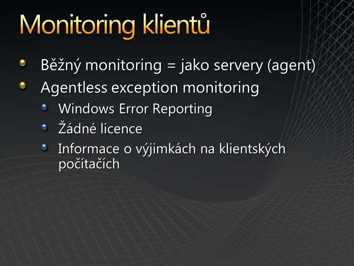 Monitoring klientů Běžný monitoring = jako servery (agent)