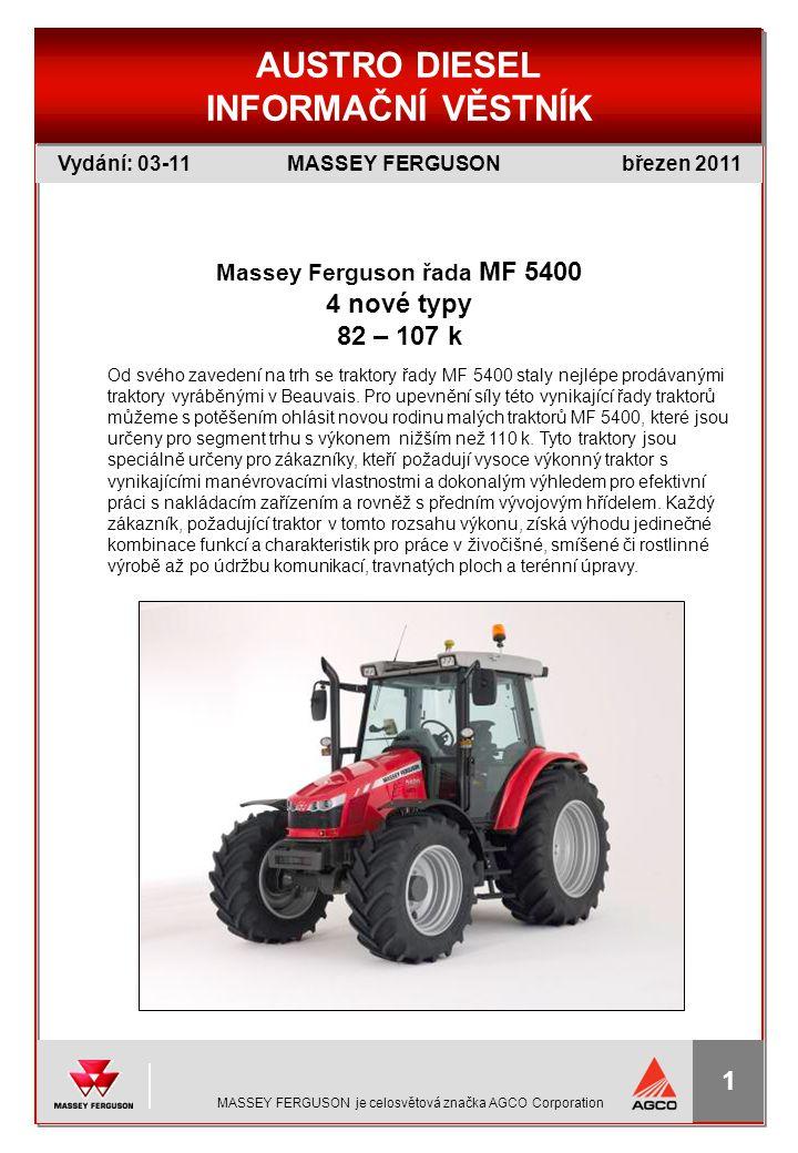 Massey Ferguson řada MF 5400 4 nové typy 82 – 107 k
