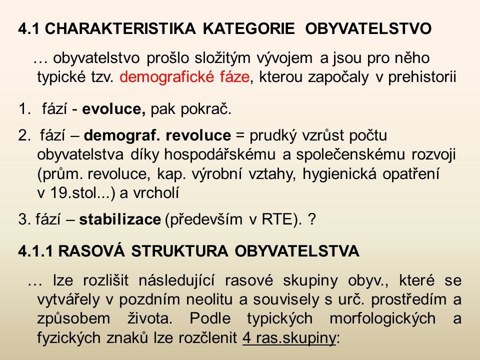 4.1 CHARAKTERISTIKA KATEGORIE OBYVATELSTVO