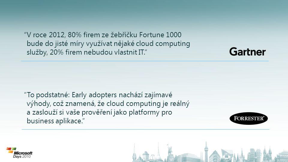 V roce 2012, 80% firem ze žebříčku Fortune 1000 bude do jisté míry využívat nějaké cloud computing služby, 20% firem nebudou vlastnit IT.