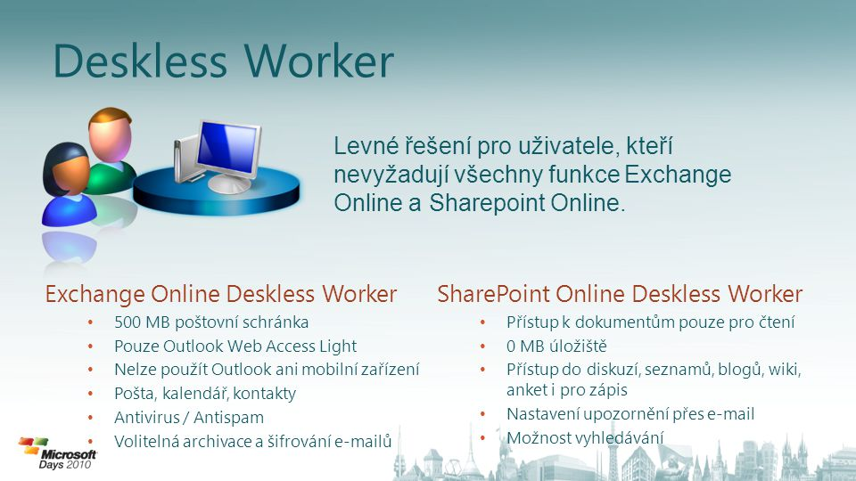 Deskless Worker Levné řešení pro uživatele, kteří nevyžadují všechny funkce Exchange Online a Sharepoint Online.