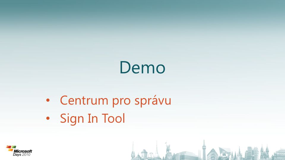 Centrum pro správu Sign In Tool