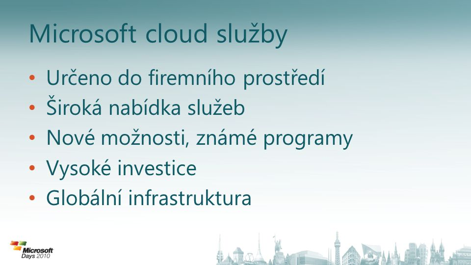 Microsoft cloud služby