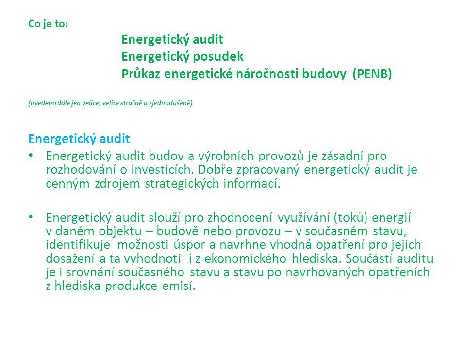Co je to:. Energetický audit. Energetický posudek