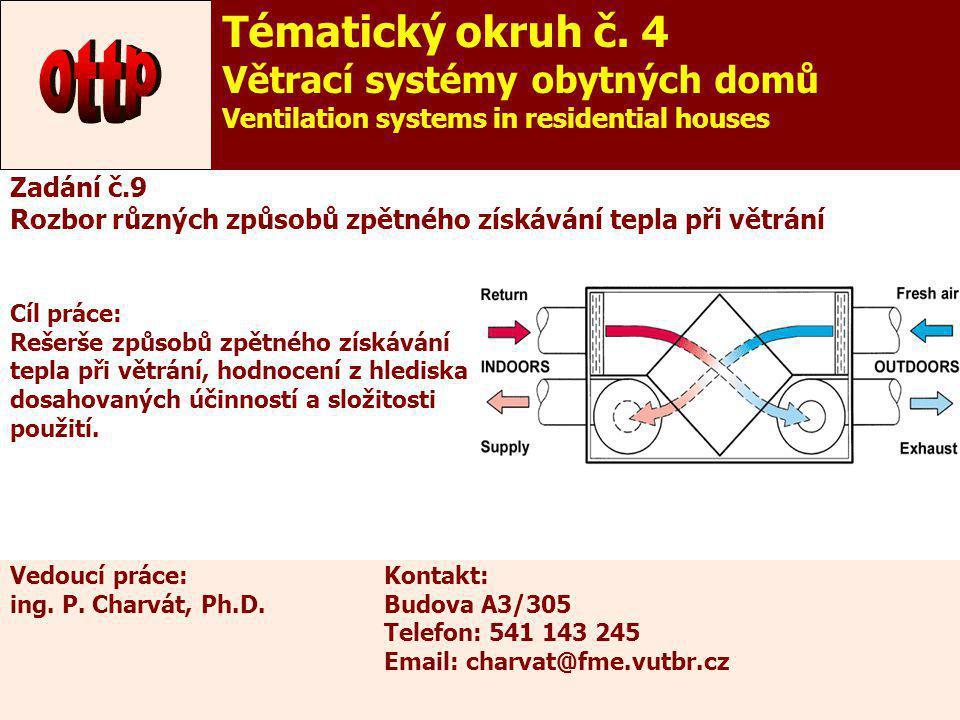ottp Tématický okruh č. 4 Větrací systémy obytných domů