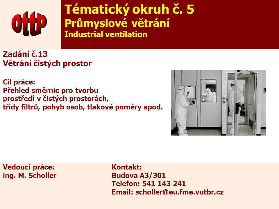 ottp Tématický okruh č. 5 Průmyslové větrání Industrial ventilation