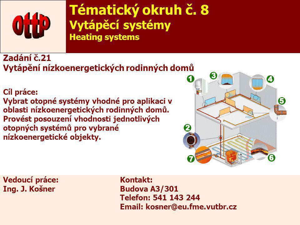 ottp Tématický okruh č. 8 Vytápěcí systémy Heating systems Zadání č.21