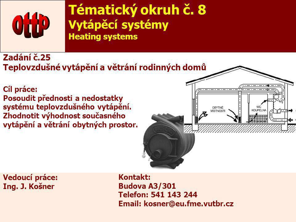 ottp Tématický okruh č. 8 Vytápěcí systémy Heating systems Zadání č.25