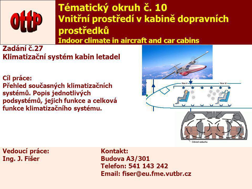 Tématický okruh č. 10 Vnitřní prostředí v kabině dopravních prostředků. Indoor climate in aircraft and car cabins.