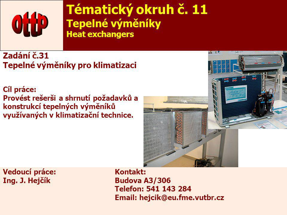 ottp Tématický okruh č. 11 Tepelné výměníky Heat exchangers
