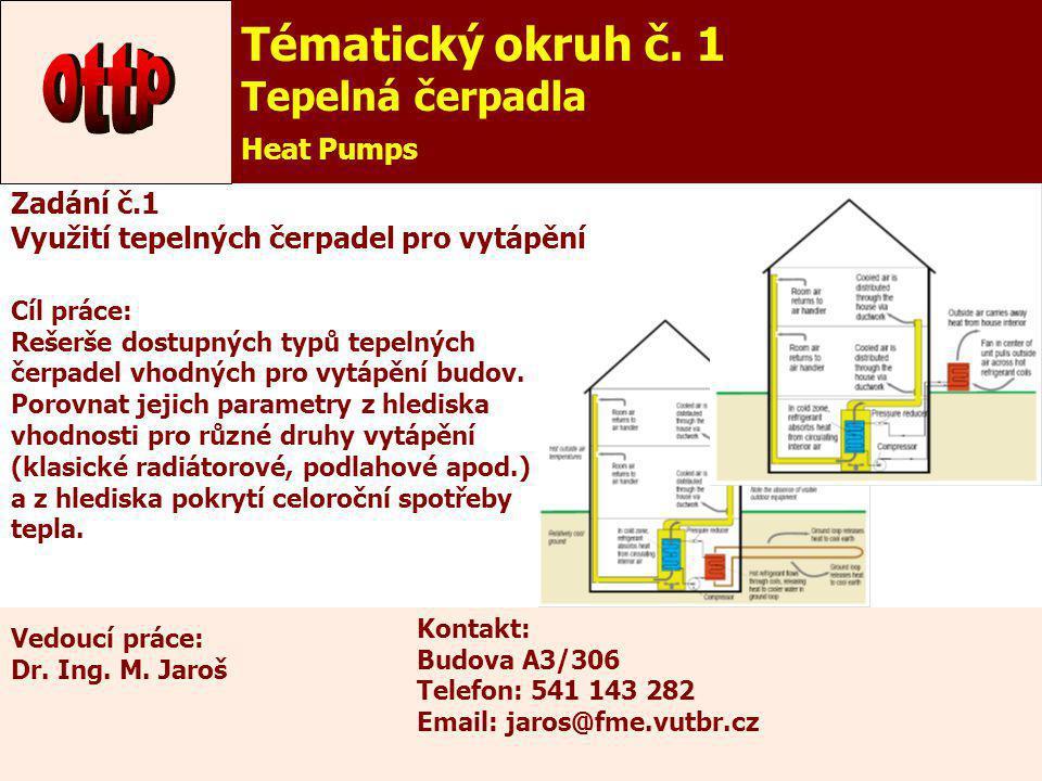 ottp Tématický okruh č. 1 Tepelná čerpadla Heat Pumps Zadání č.1