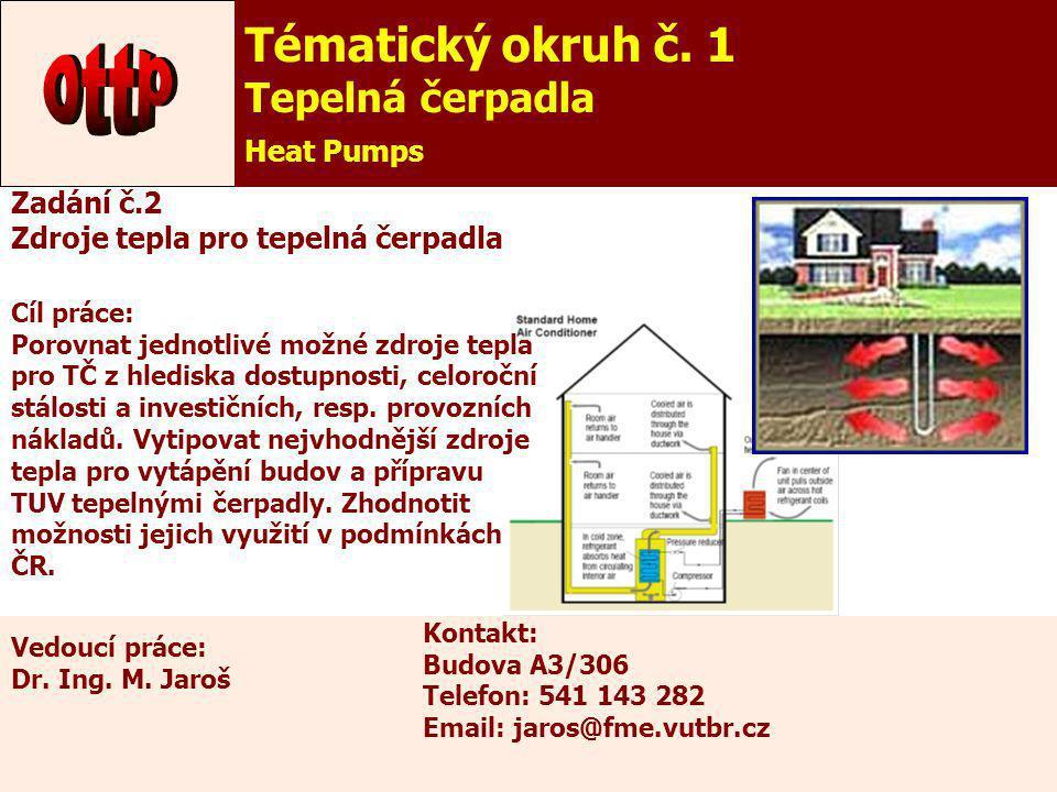 ottp Tématický okruh č. 1 Tepelná čerpadla Heat Pumps Zadání č.2