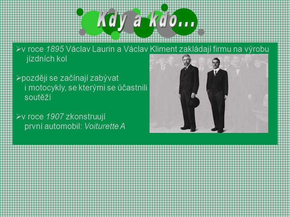 Kdy a kdo... v roce 1895 Václav Laurin a Václav Kliment zakládají firmu na výrobu. jízdních kol. později se začínají zabývat.
