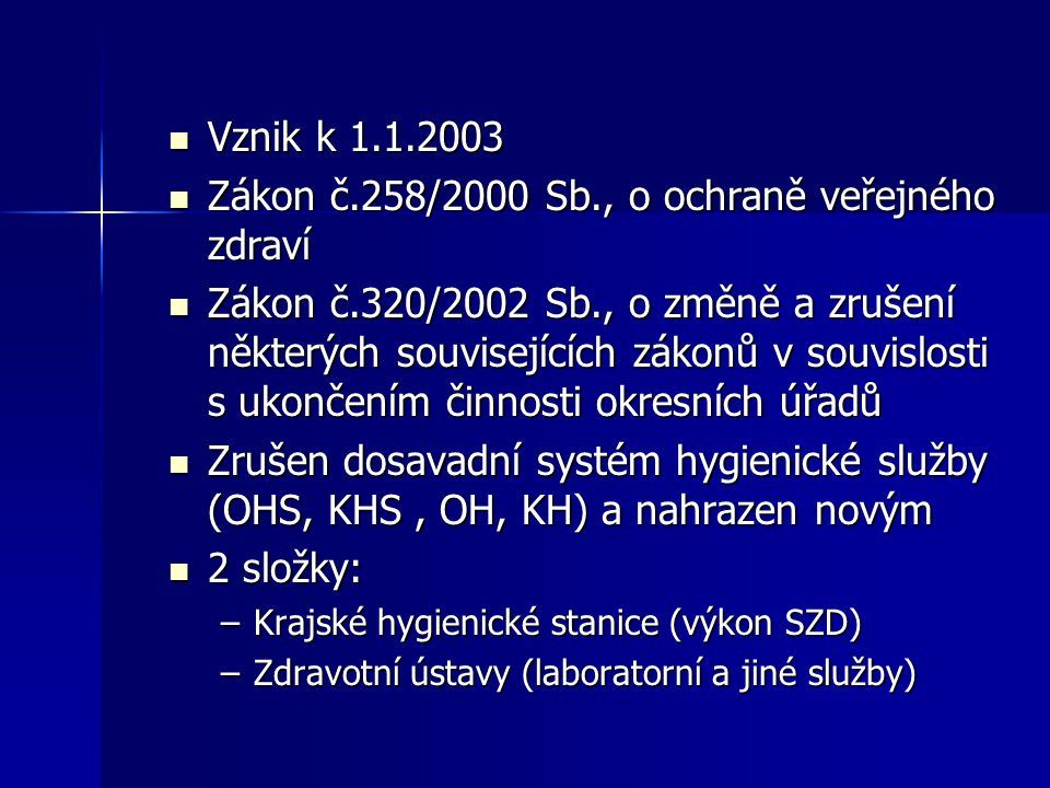 Zákon č.258/2000 Sb., o ochraně veřejného zdraví