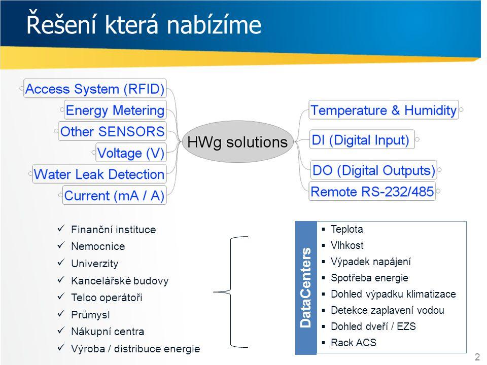 Řešení která nabízíme DataCenters Finanční instituce Nemocnice