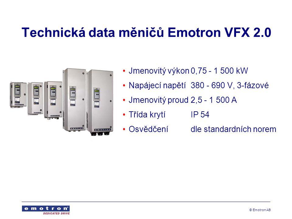 Technická data měničů Emotron VFX 2.0