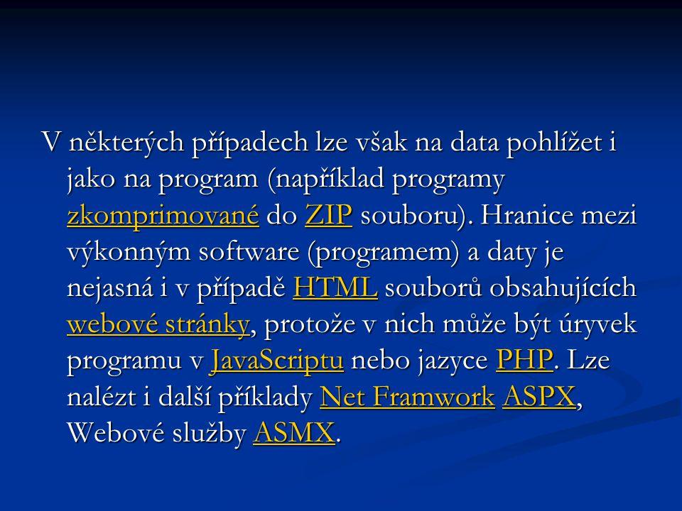 V některých případech lze však na data pohlížet i jako na program (například programy zkomprimované do ZIP souboru).