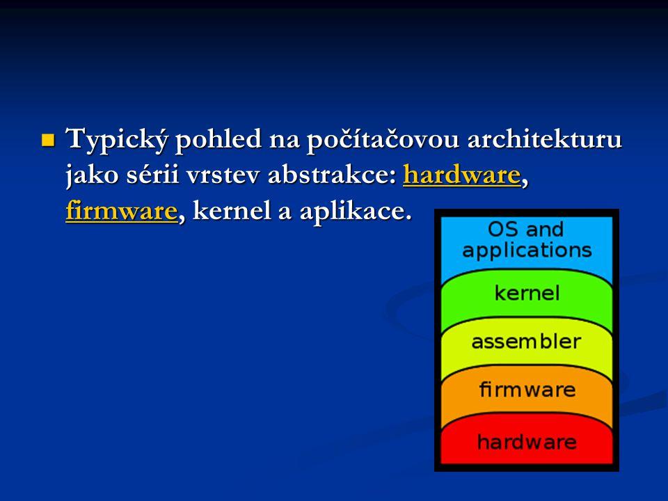 Typický pohled na počítačovou architekturu jako sérii vrstev abstrakce: hardware, firmware, kernel a aplikace.