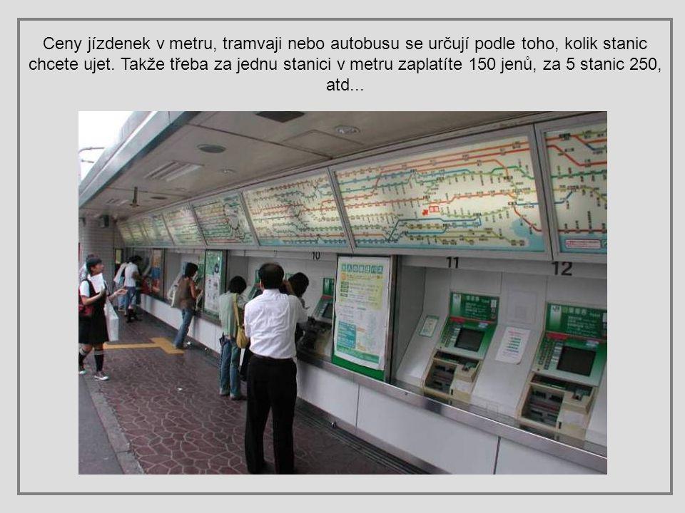 Ceny jízdenek v metru, tramvaji nebo autobusu se určují podle toho, kolik stanic chcete ujet.