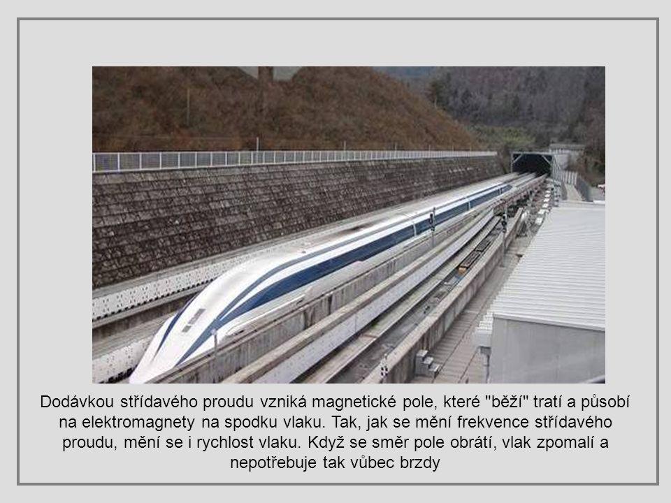 Dodávkou střídavého proudu vzniká magnetické pole, které běží tratí a působí na elektromagnety na spodku vlaku.
