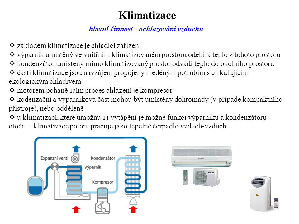 Klimatizace hlavní činnost - ochlazování vzduchu