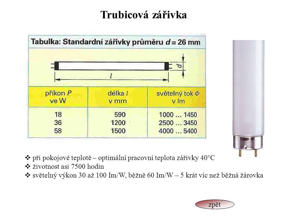 Trubicová zářivka při pokojové teplotě – optimální pracovní teplota zářivky 40°C. životnost asi 7500 hodin.