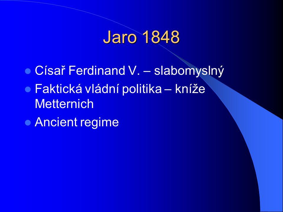 Jaro 1848 Císař Ferdinand V. – slabomyslný