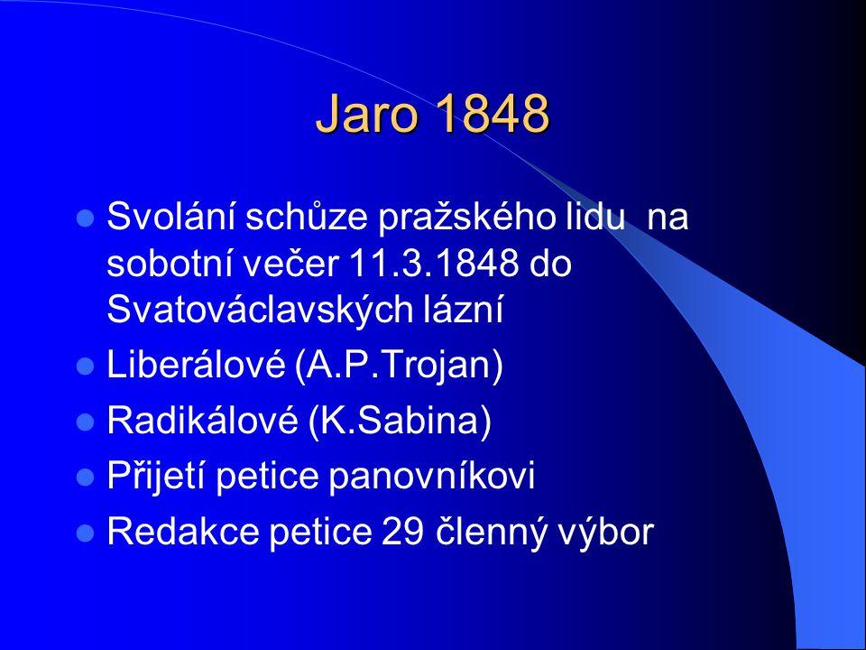 Jaro 1848 Svolání schůze pražského lidu na sobotní večer 11.3.1848 do Svatováclavských lázní. Liberálové (A.P.Trojan)