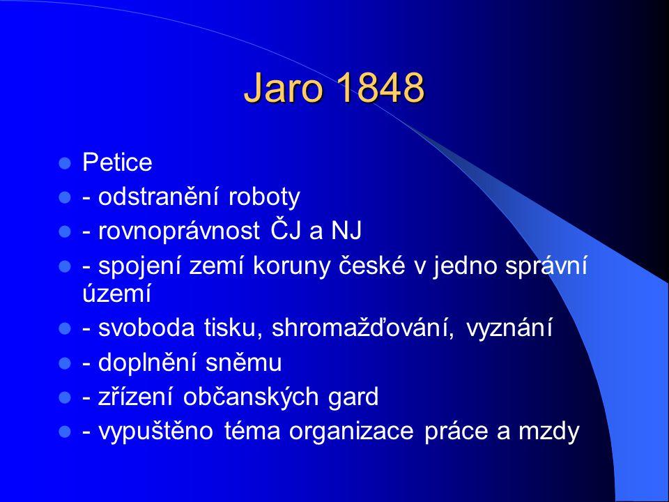 Jaro 1848 Petice - odstranění roboty - rovnoprávnost ČJ a NJ