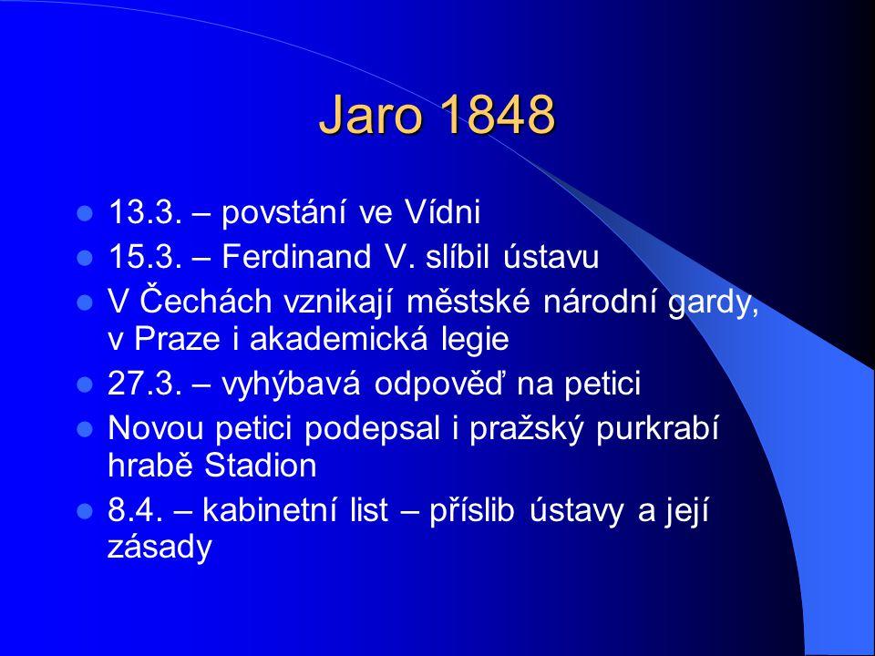Jaro 1848 13.3. – povstání ve Vídni 15.3. – Ferdinand V. slíbil ústavu