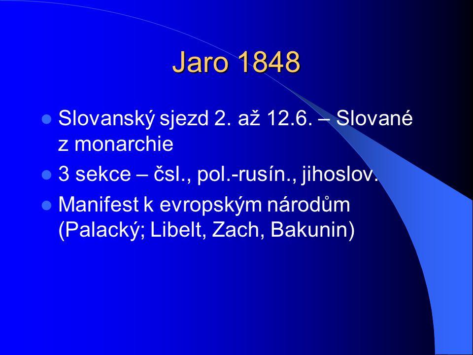 Jaro 1848 Slovanský sjezd 2. až 12.6. – Slované z monarchie