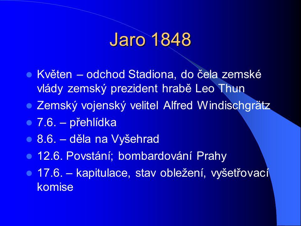 Jaro 1848 Květen – odchod Stadiona, do čela zemské vlády zemský prezident hrabě Leo Thun. Zemský vojenský velitel Alfred Windischgrätz.