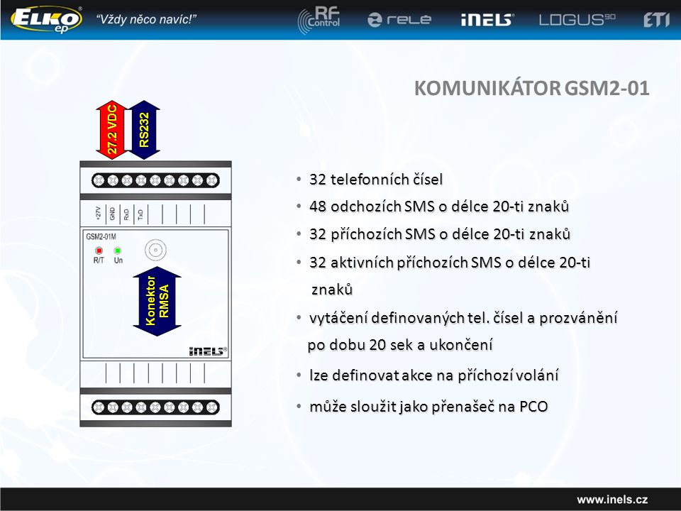 KOMUNIKÁTOR GSM2-01 32 telefonních čísel