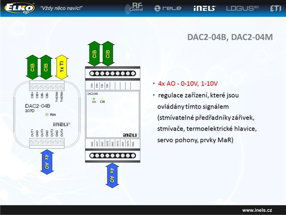 DAC2-04B, DAC2-04M 4x AO - 0-10V, 1-10V regulace zařízení, které jsou