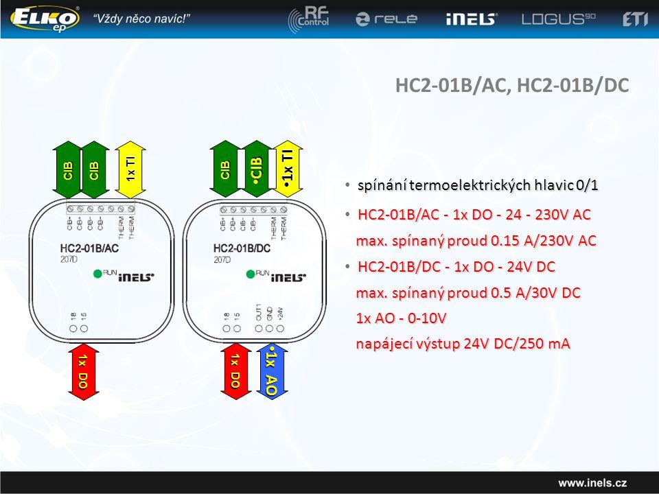 HC2-01B/AC, HC2-01B/DC CIB 1x TI spínání termoelektrických hlavic 0/1