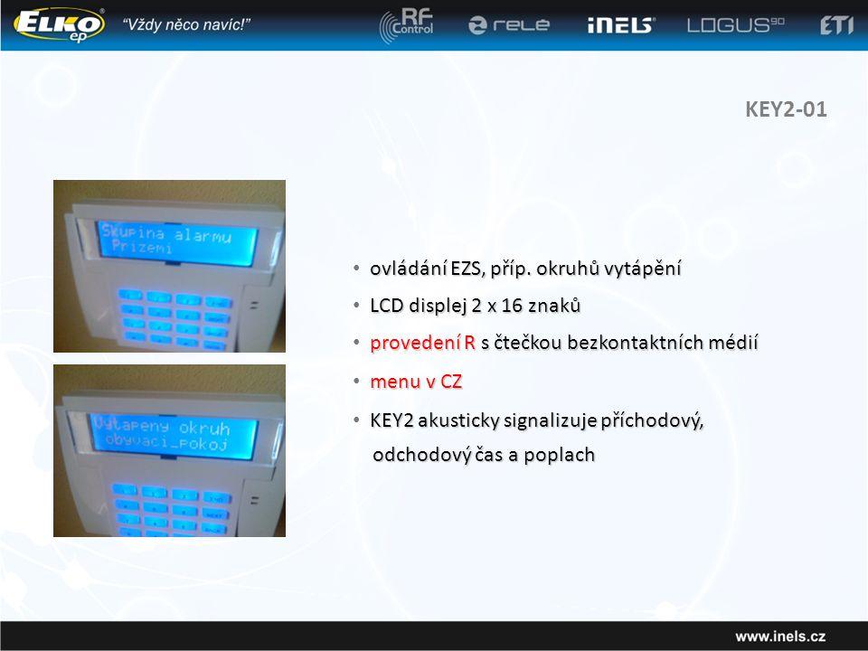KEY2-01 ovládání EZS, příp. okruhů vytápění LCD displej 2 x 16 znaků