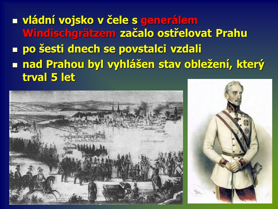 vládní vojsko v čele s generálem Windischgrätzem začalo ostřelovat Prahu