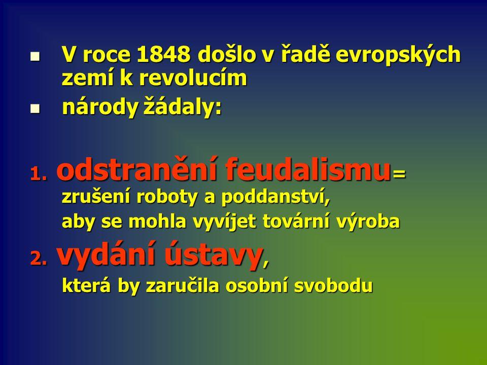 V roce 1848 došlo v řadě evropských zemí k revolucím národy žádaly:
