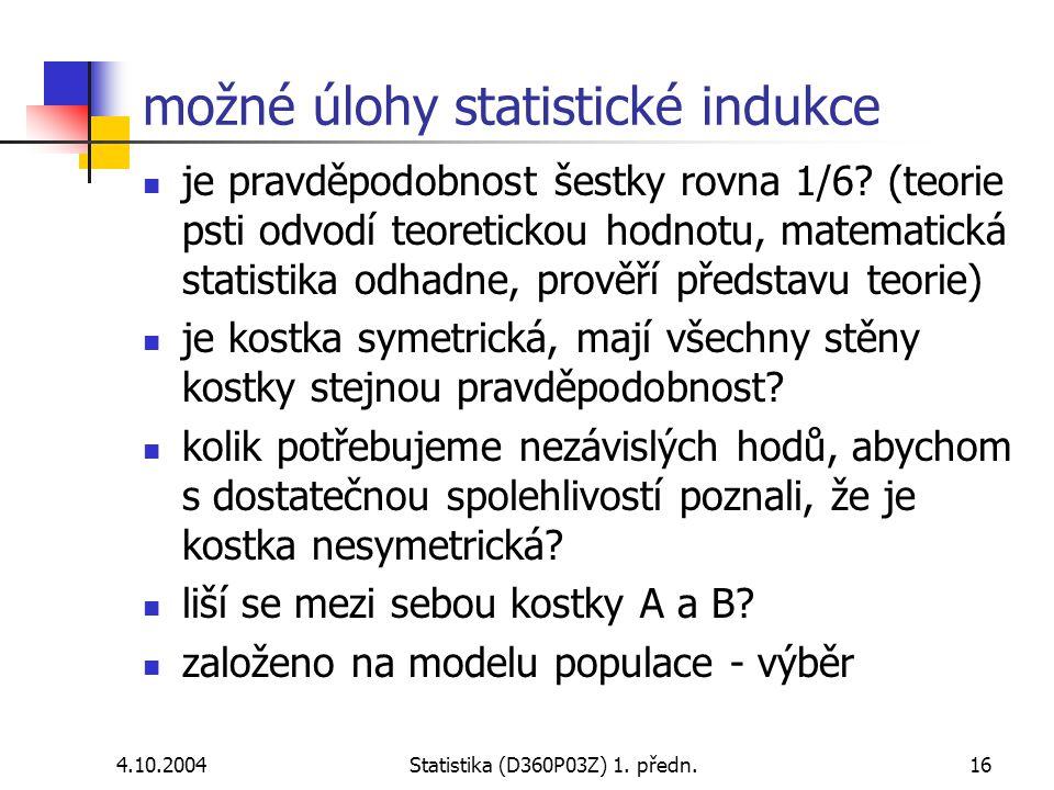možné úlohy statistické indukce