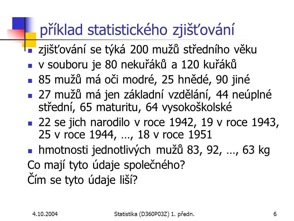 příklad statistického zjišťování