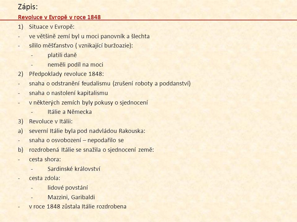 Zápis: Revoluce v Evropě v roce 1848 Situace v Evropě: