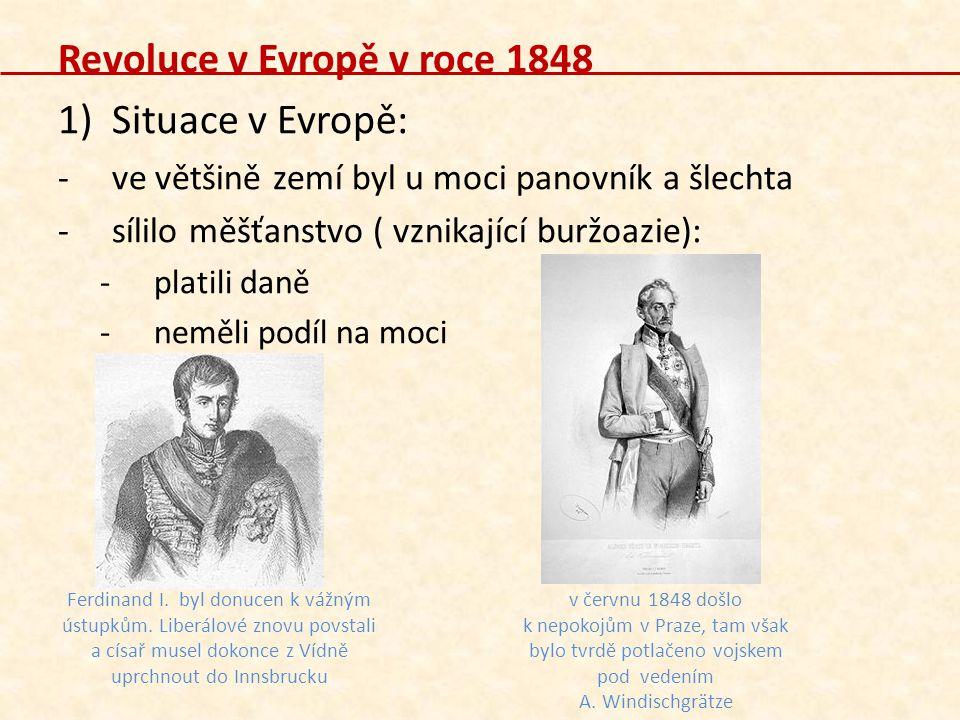 Revoluce v Evropě v roce 1848 Situace v Evropě:
