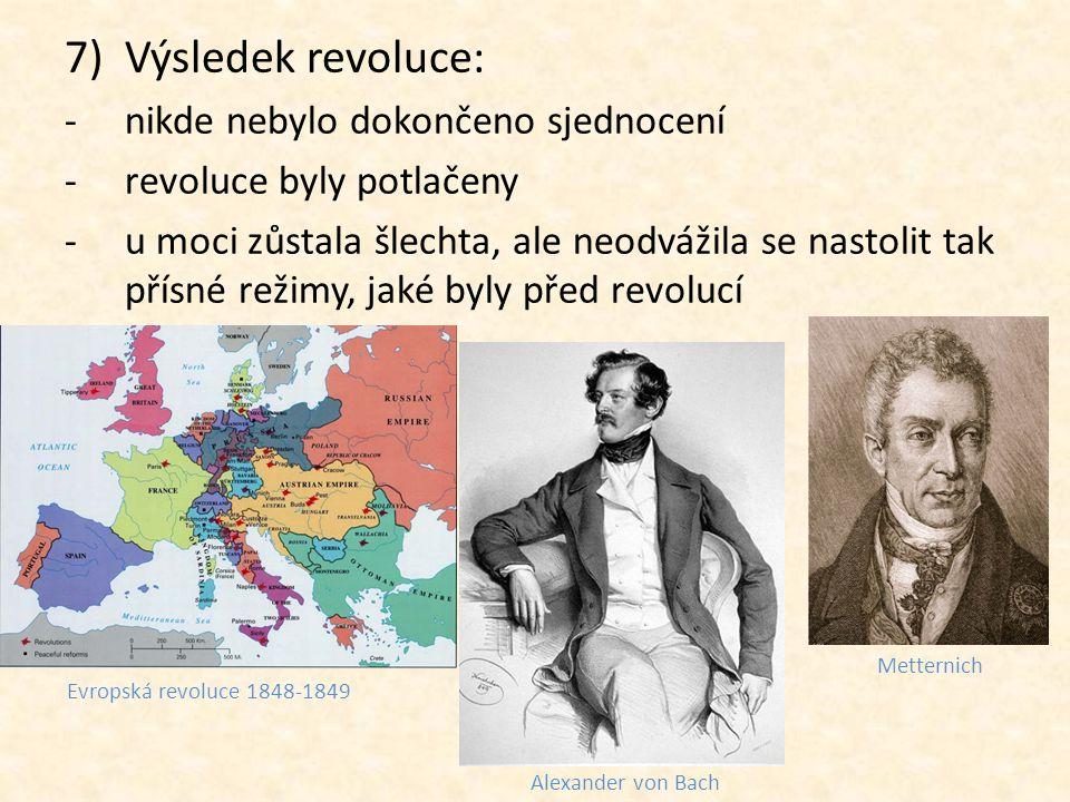 Výsledek revoluce: nikde nebylo dokončeno sjednocení