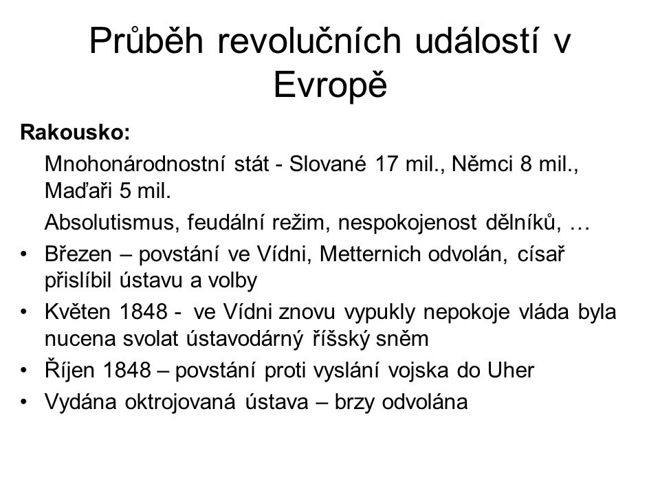 Průběh revolučních událostí v Evropě