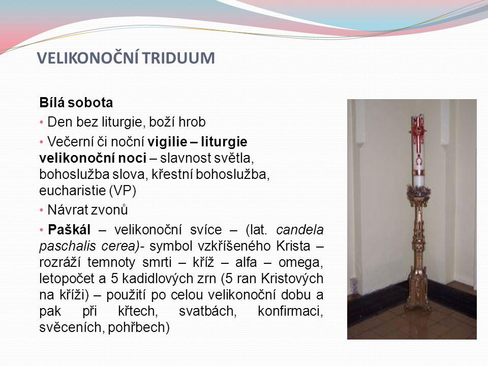Velikonoční triduum Bílá sobota Den bez liturgie, boží hrob