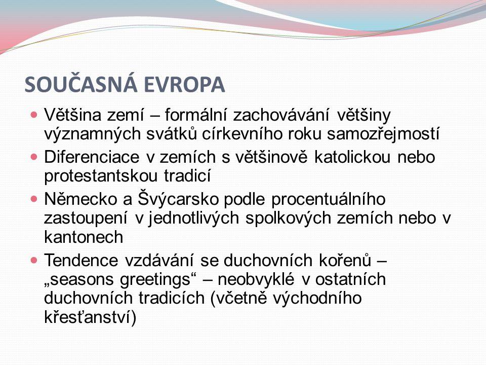 Současná Evropa Většina zemí – formální zachovávání většiny významných svátků církevního roku samozřejmostí.
