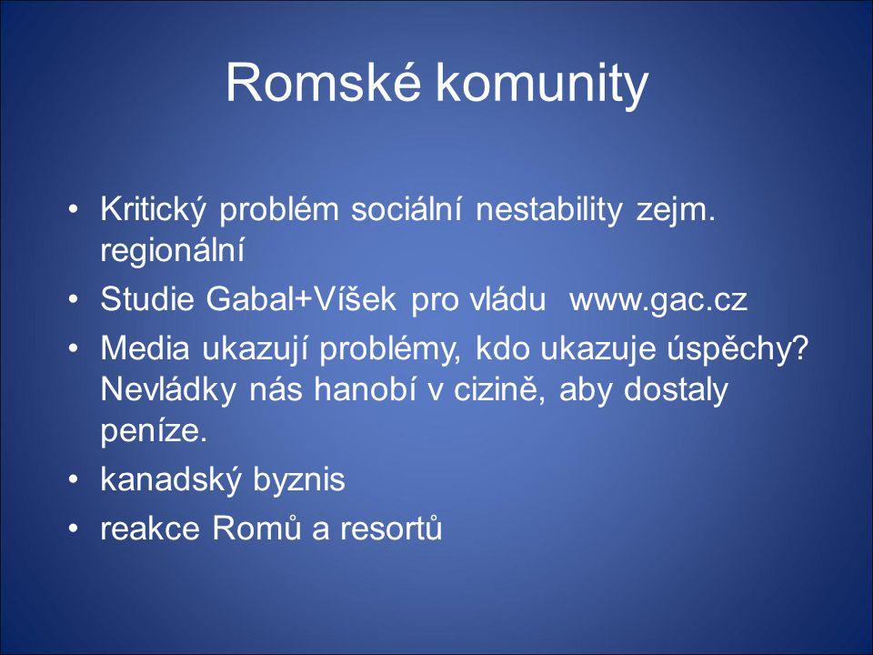 Romské komunity Kritický problém sociální nestability zejm. regionální