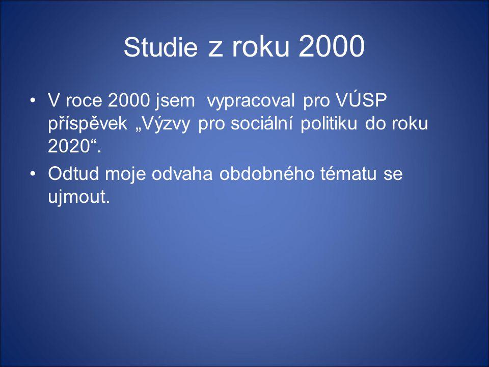 """Studie z roku 2000 V roce 2000 jsem vypracoval pro VÚSP příspěvek """"Výzvy pro sociální politiku do roku 2020 ."""