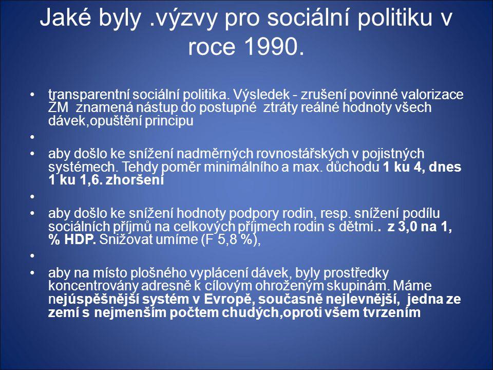Jaké byly .výzvy pro sociální politiku v roce 1990.